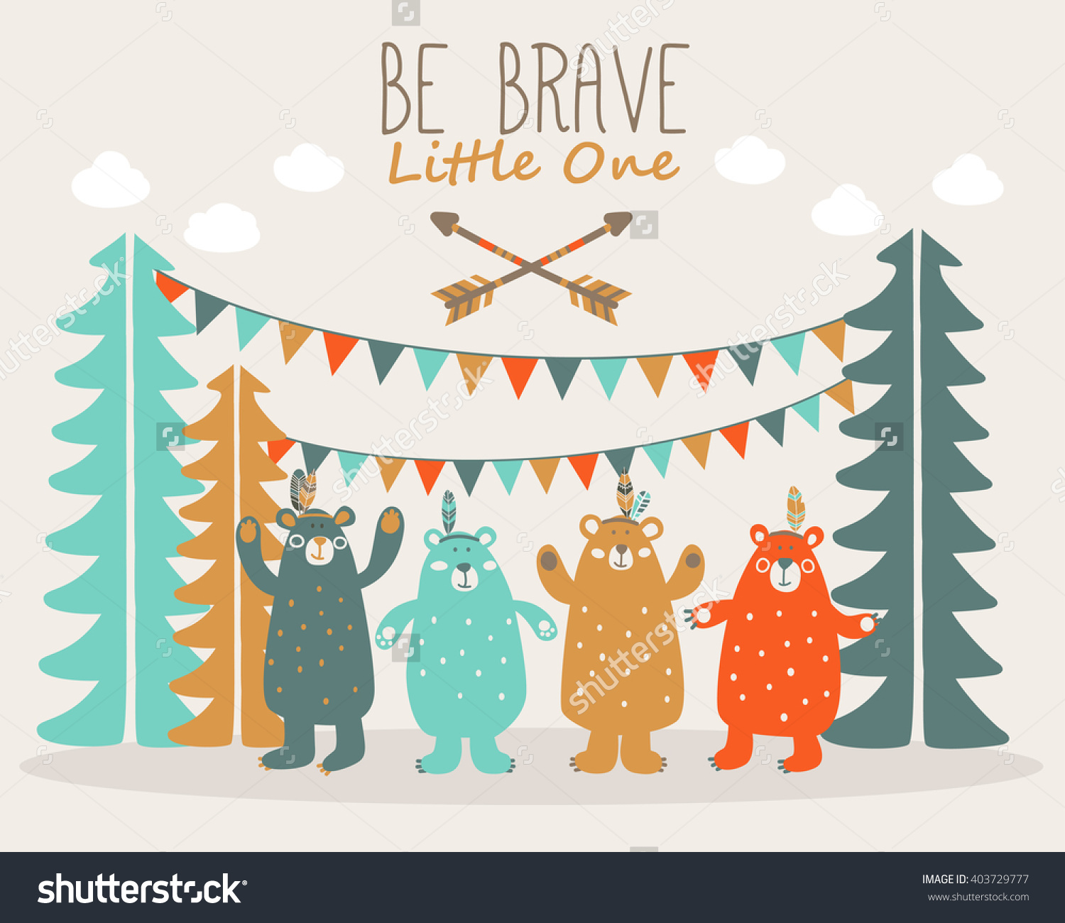 Be Brave Little One Cute Poster Stock Vector 403729777.