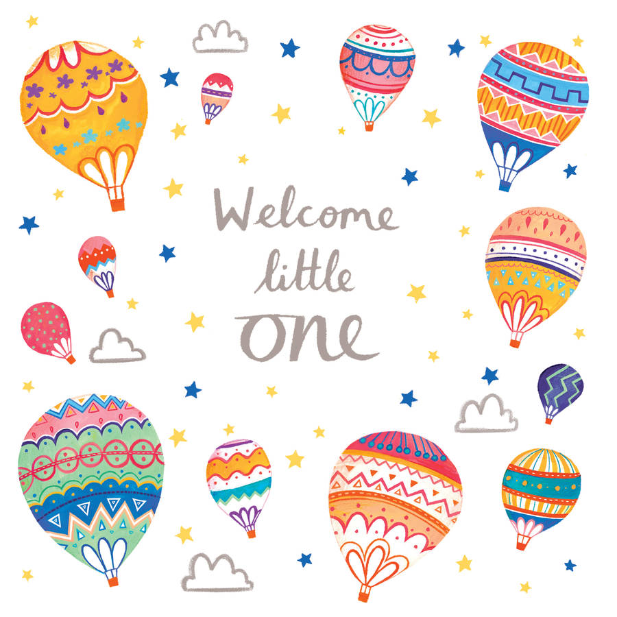 a 'welcome little one' new baby card by emma randall illustration.