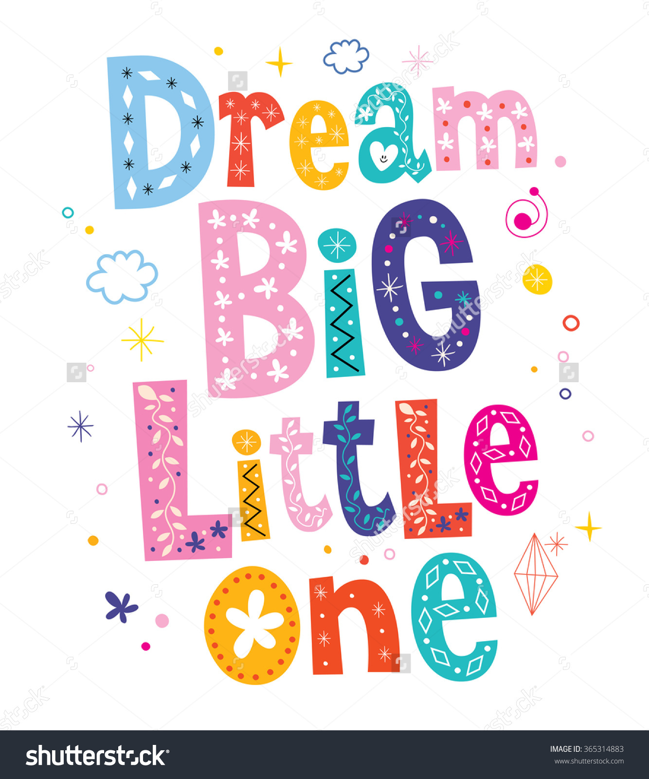 Dream Big Little One Kids Nursery Stock Vector 365314883.