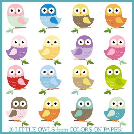 Digital Clip Art. Cute Little Owls in Pretty Pastels. Instant.