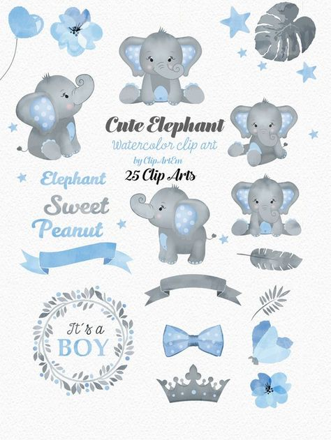 Elephant Boy clip art, watercolor. Watercolor Baby Peanut.