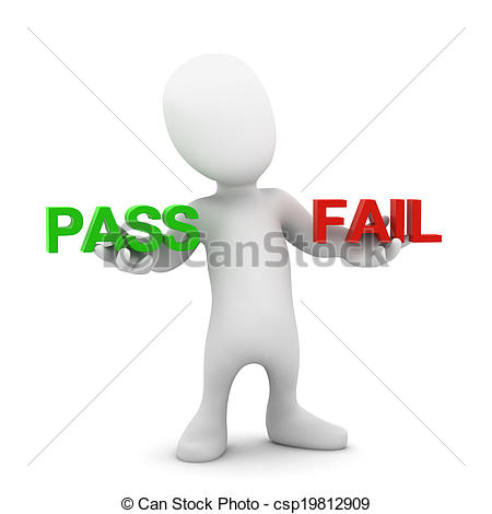 Stock Illustration of 3d Little person pass or fail.