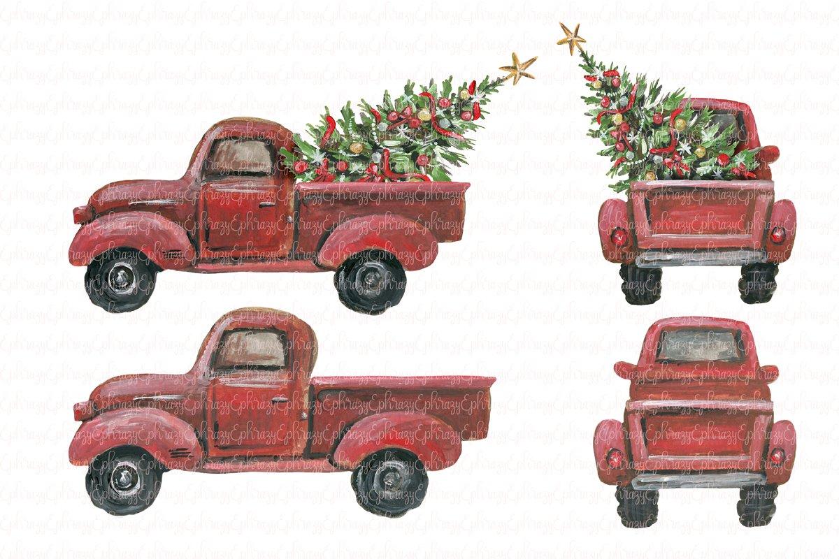 Little red truck clipart set ~ Illustrations ~ Creative Market.
