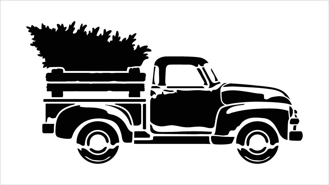 Little Red Truck Christmas Tree Stencil by StudioR12.
