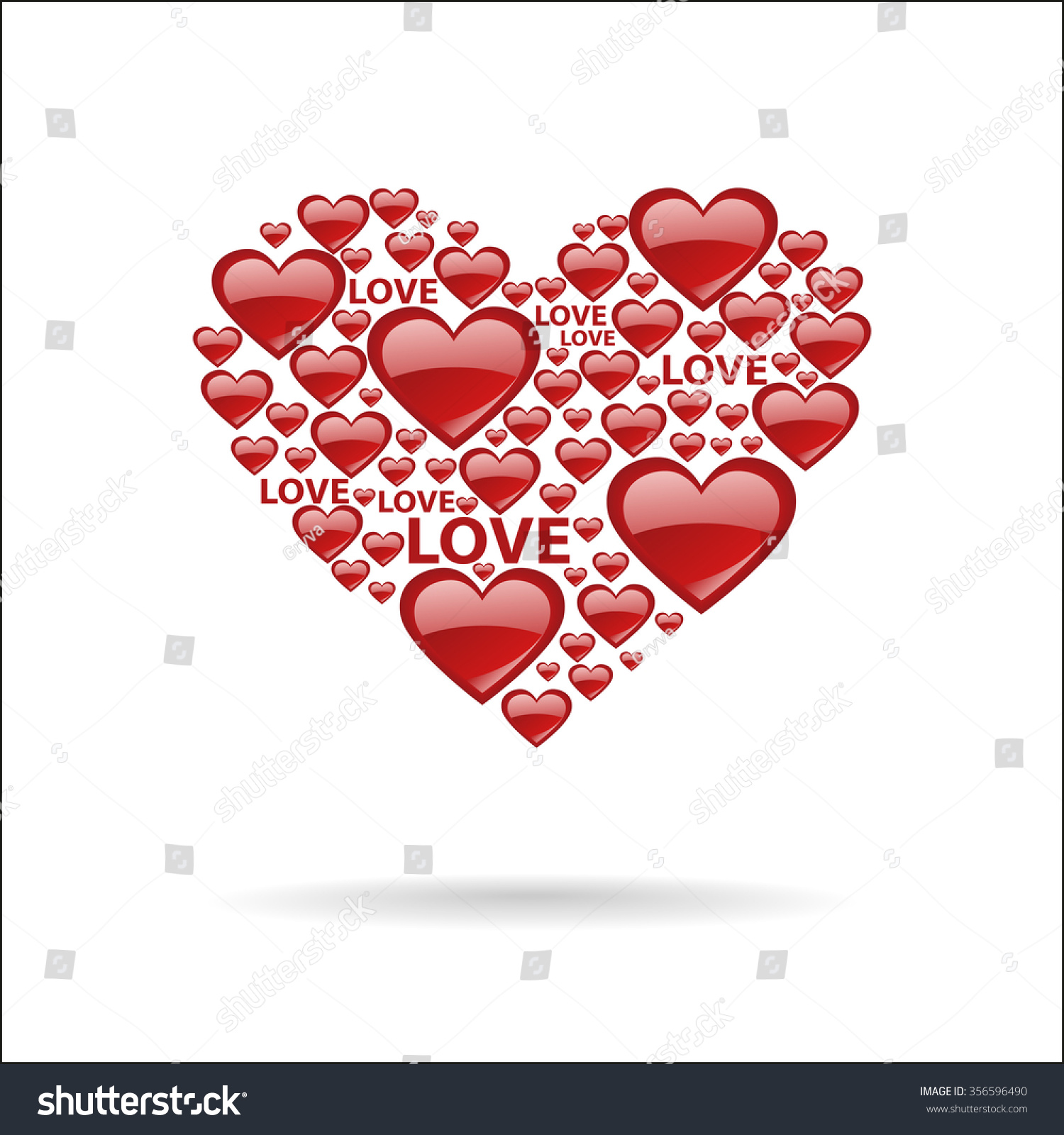 Silhouette Heart Lots Little Red Hearts Stock Vector.