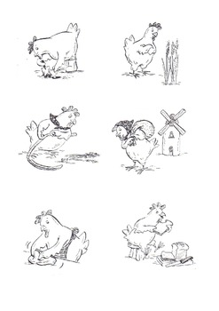 Little Red Hen black and white images..