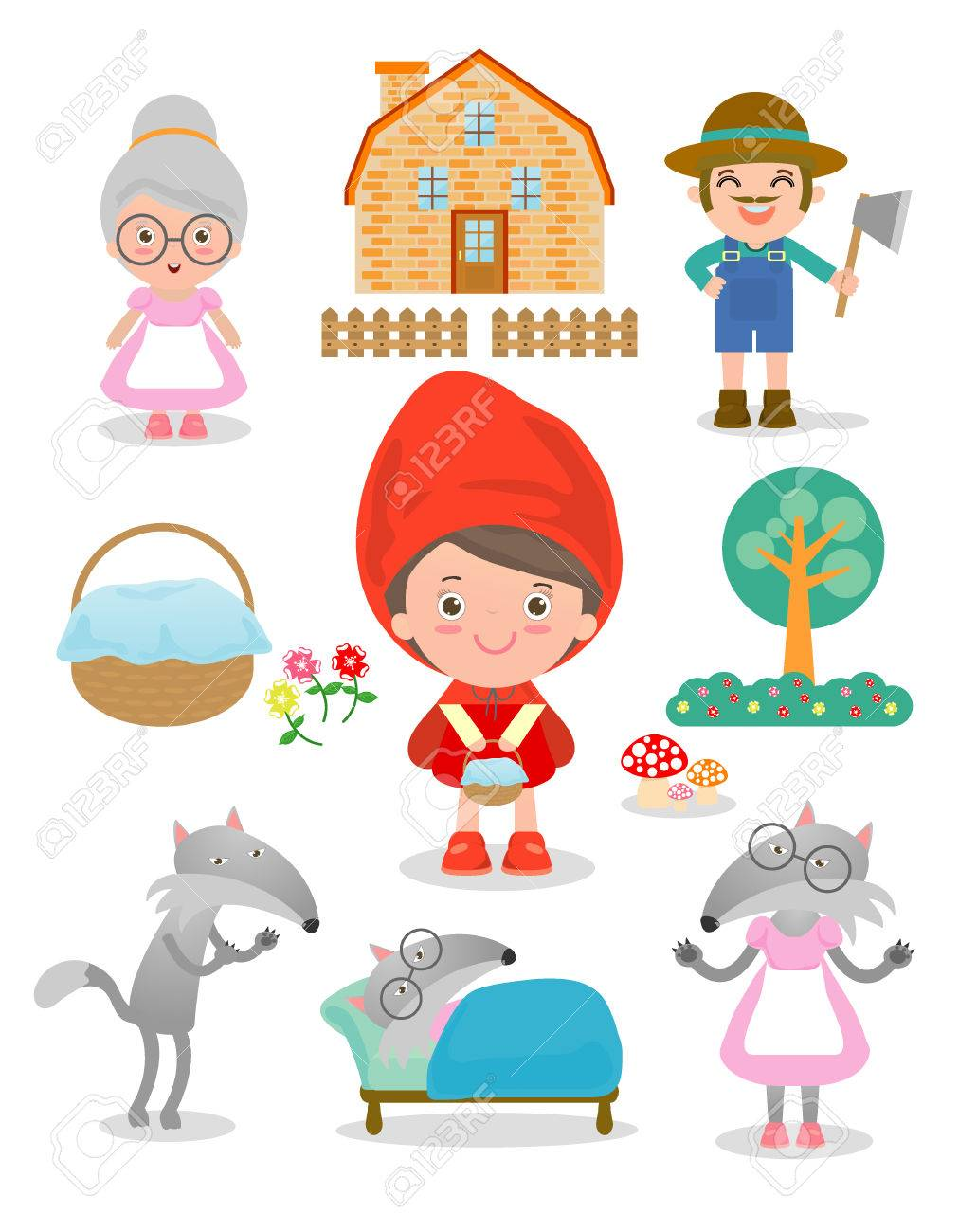 Set of characters from Little Red Riding Hood fairy tale on white...