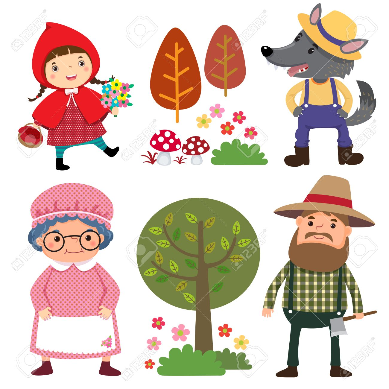 Set of characters from Little Red Riding Hood fairy tale.