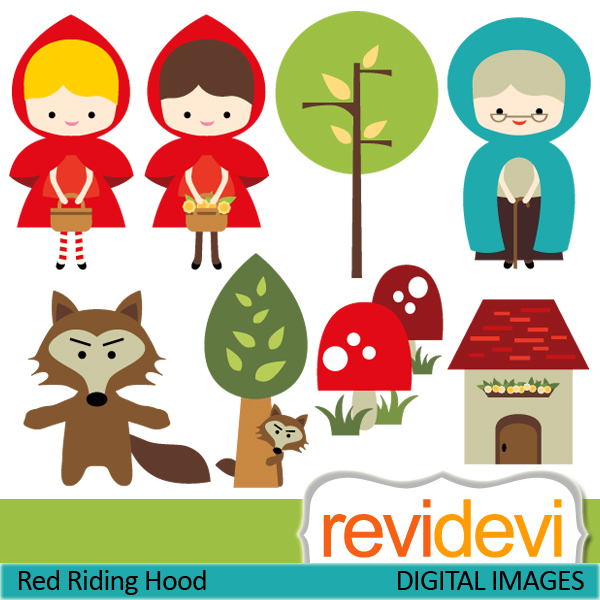 Little red riding hood clipart free.