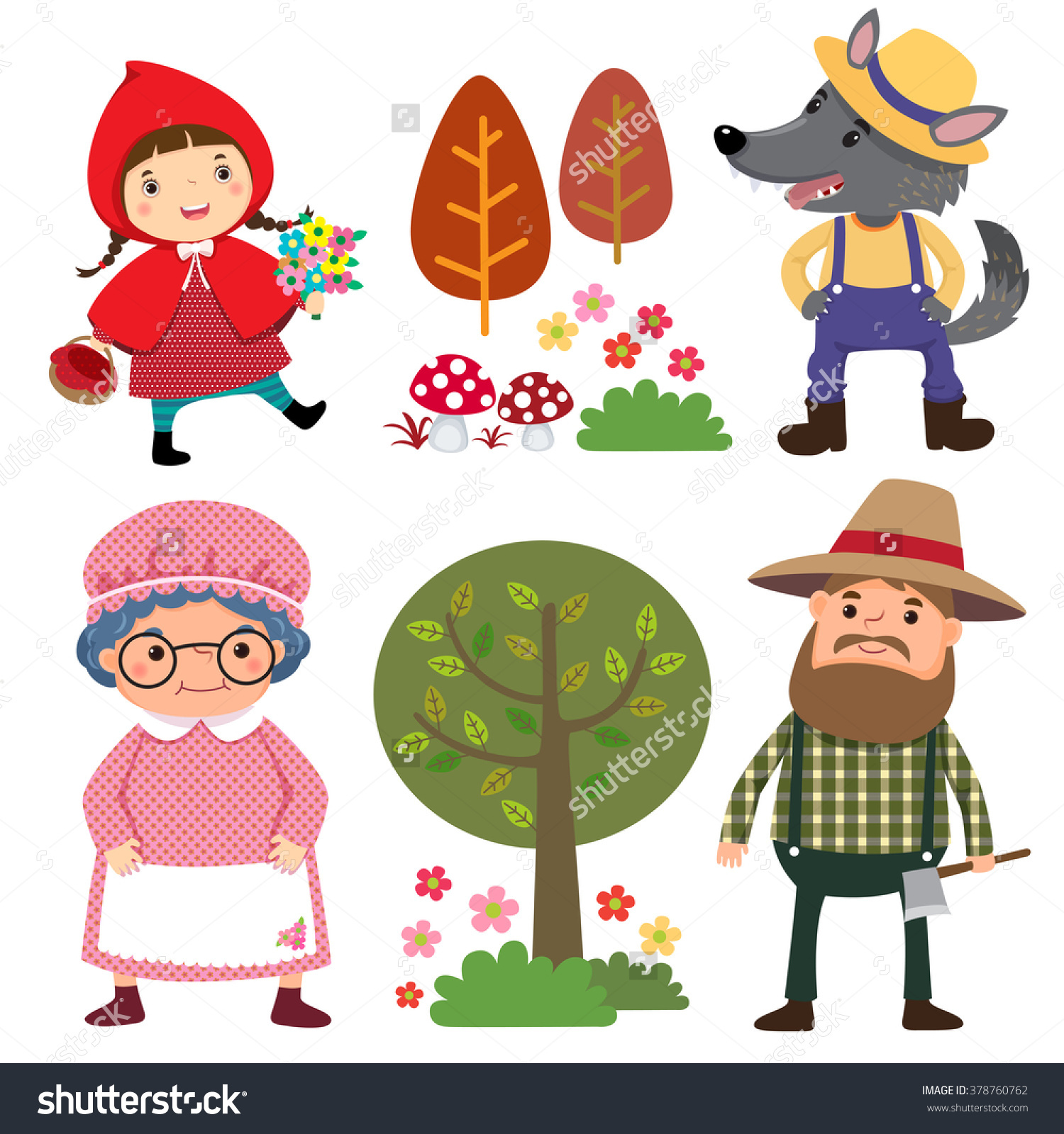 Little red riding hood character clipart.