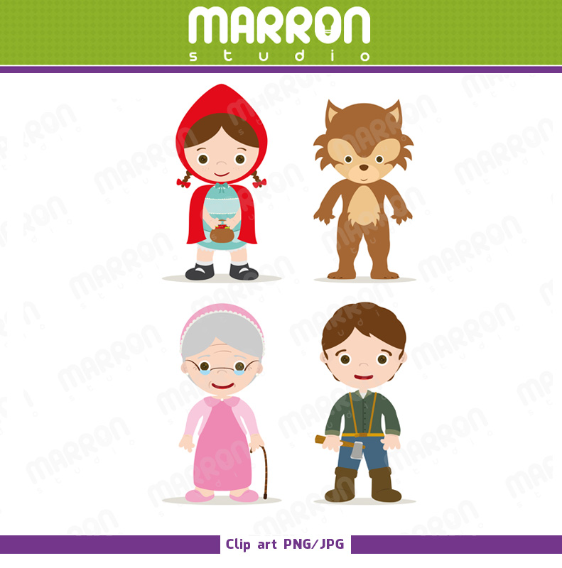 Little Red Riding Hood for Kids / Little Red Riding Hood, Wolf , Grandma  and woodcutter Clipart birthdays from Marron Studio.