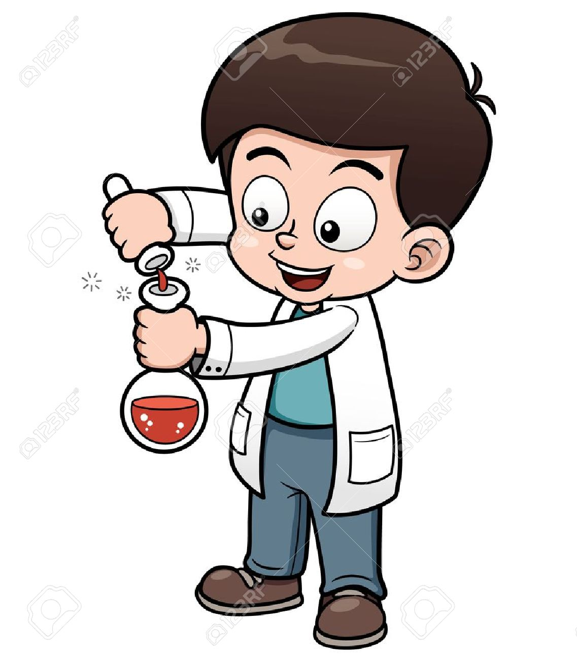 Vector illustration of Little Scientist holding test tube.