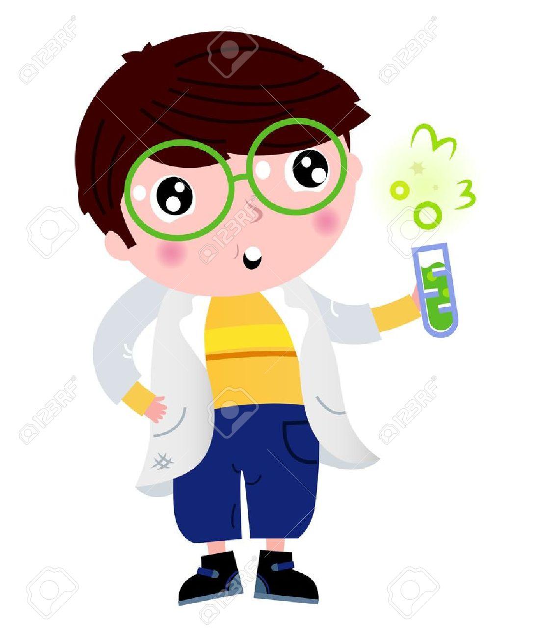 Back to school: Cute little scientist cartoon Illustration.