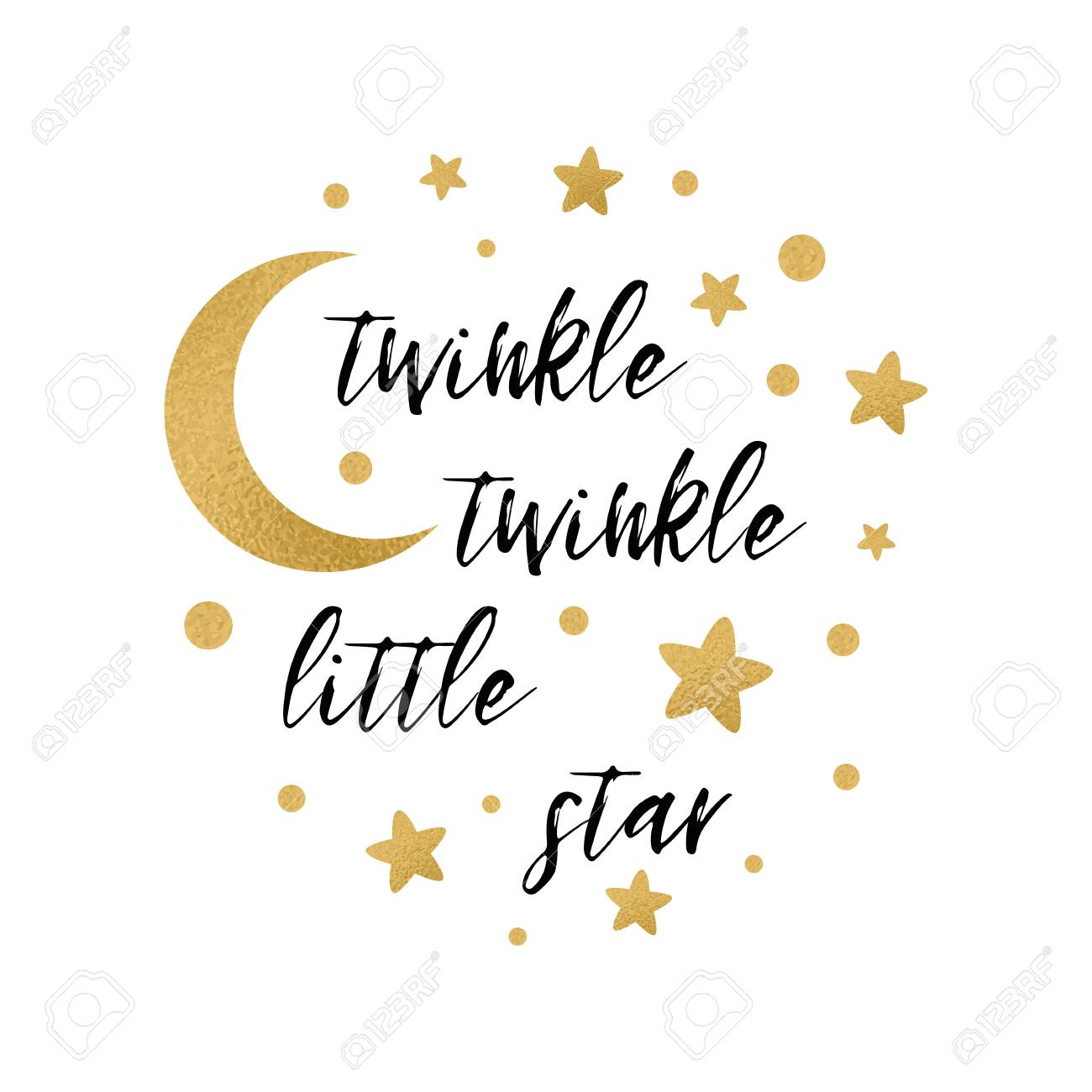 Twinkle twinkle little star text with cute gold star and moon...