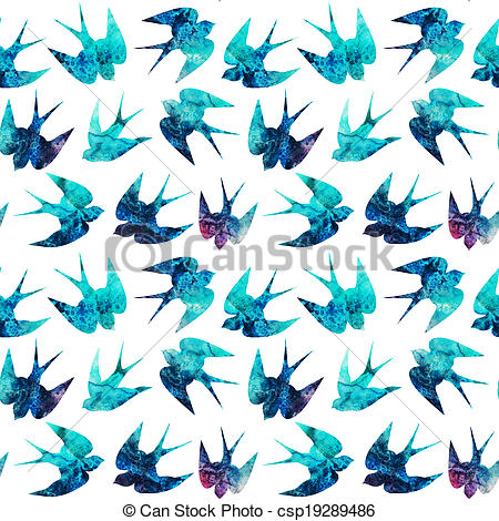 Pictures of vintage pattern with little swallows, seamless pattern.