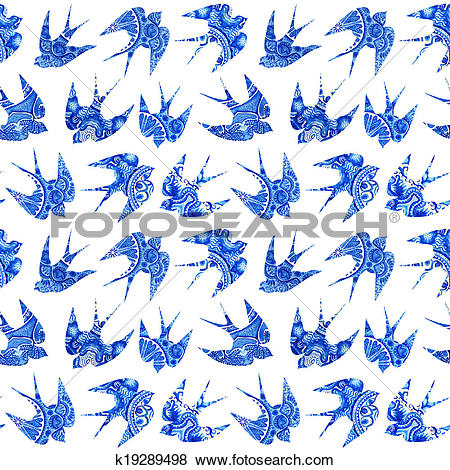 Stock Illustration of vintage pattern with little swallows.
