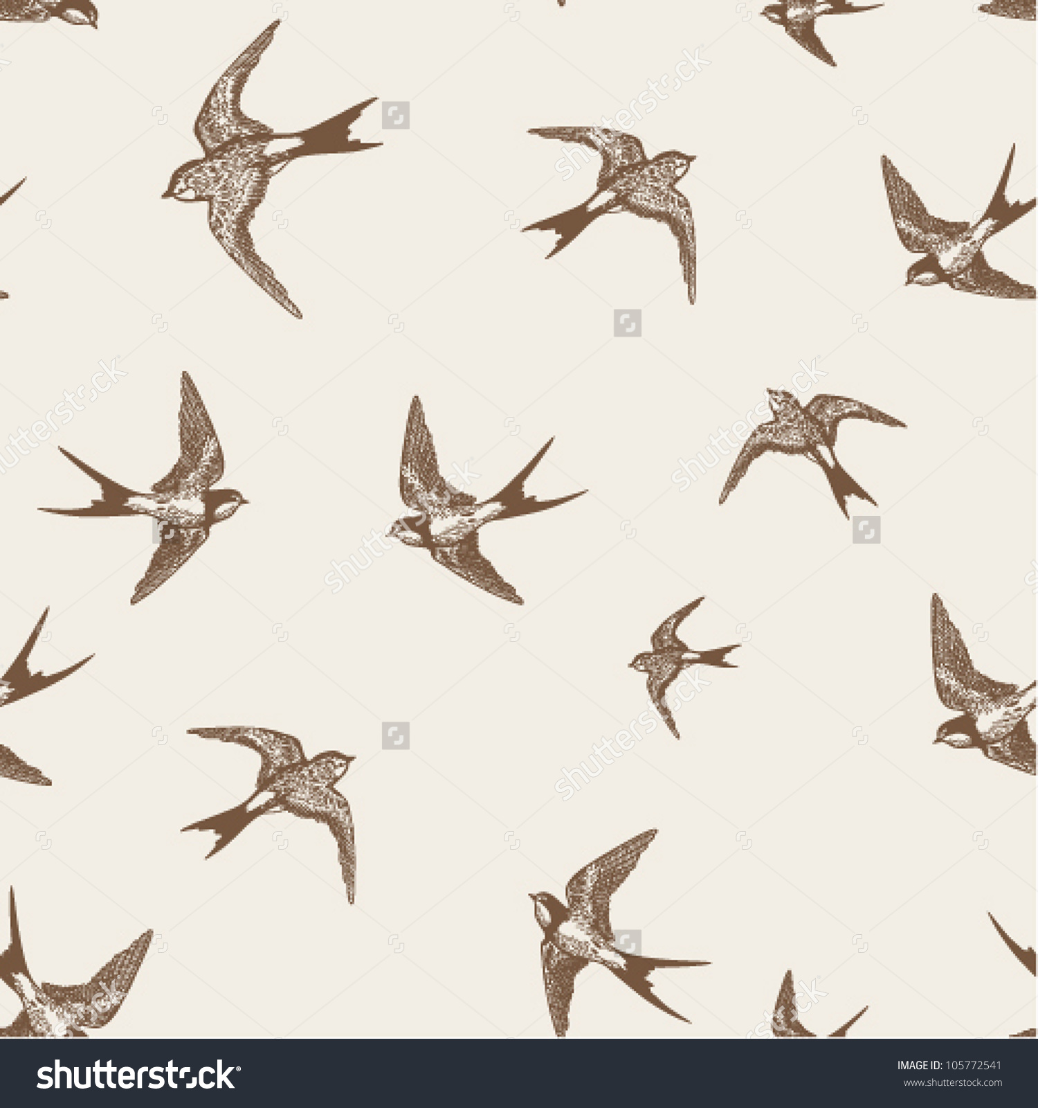 Vintage Pattern Little Swallows Stock Vector 105772541.