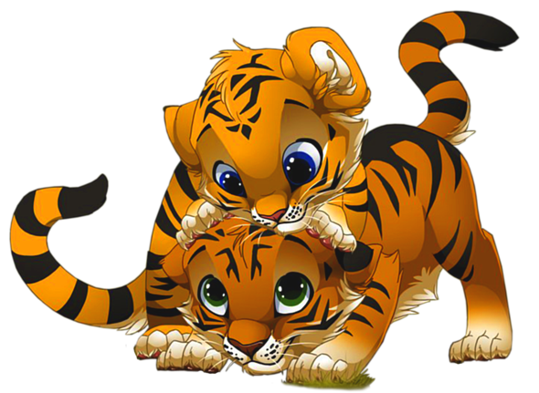 Cute Little Tiger PNG Cartoon.