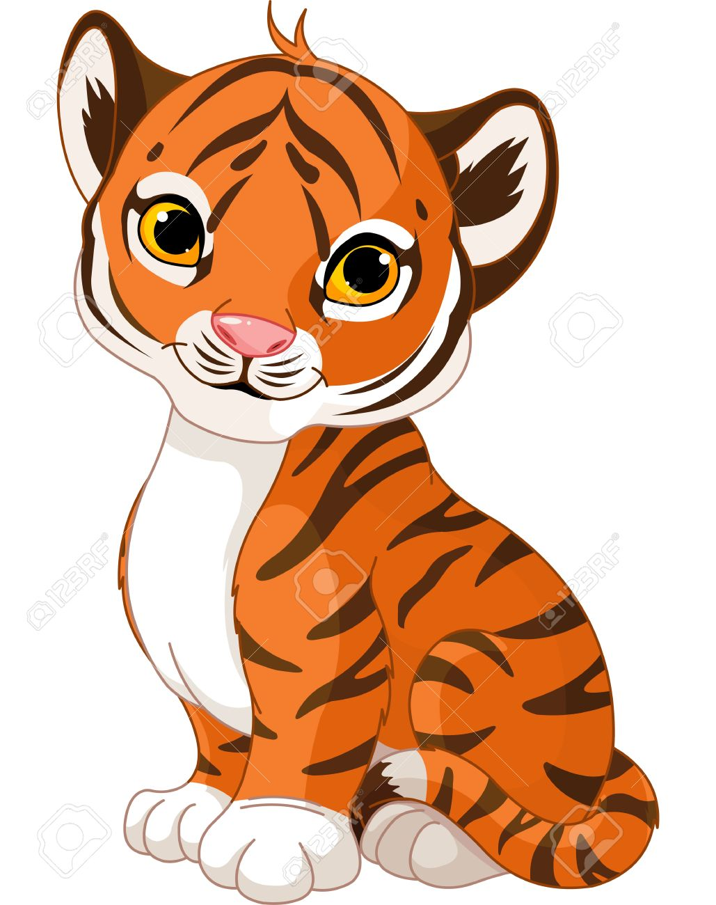 Illustration Of Cute Little Tiger Royalty Free Cliparts, Vectors.