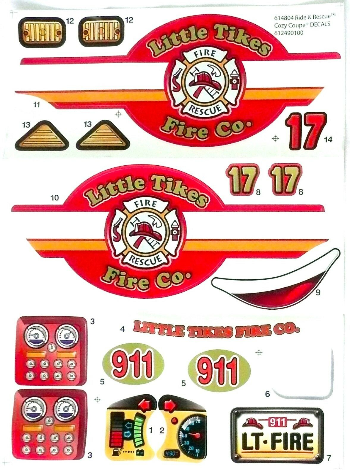 LITTLE TIKES Cozy Coupe Ride & Rescue Fire Truck Replacement Decal Stickers  >NEW.