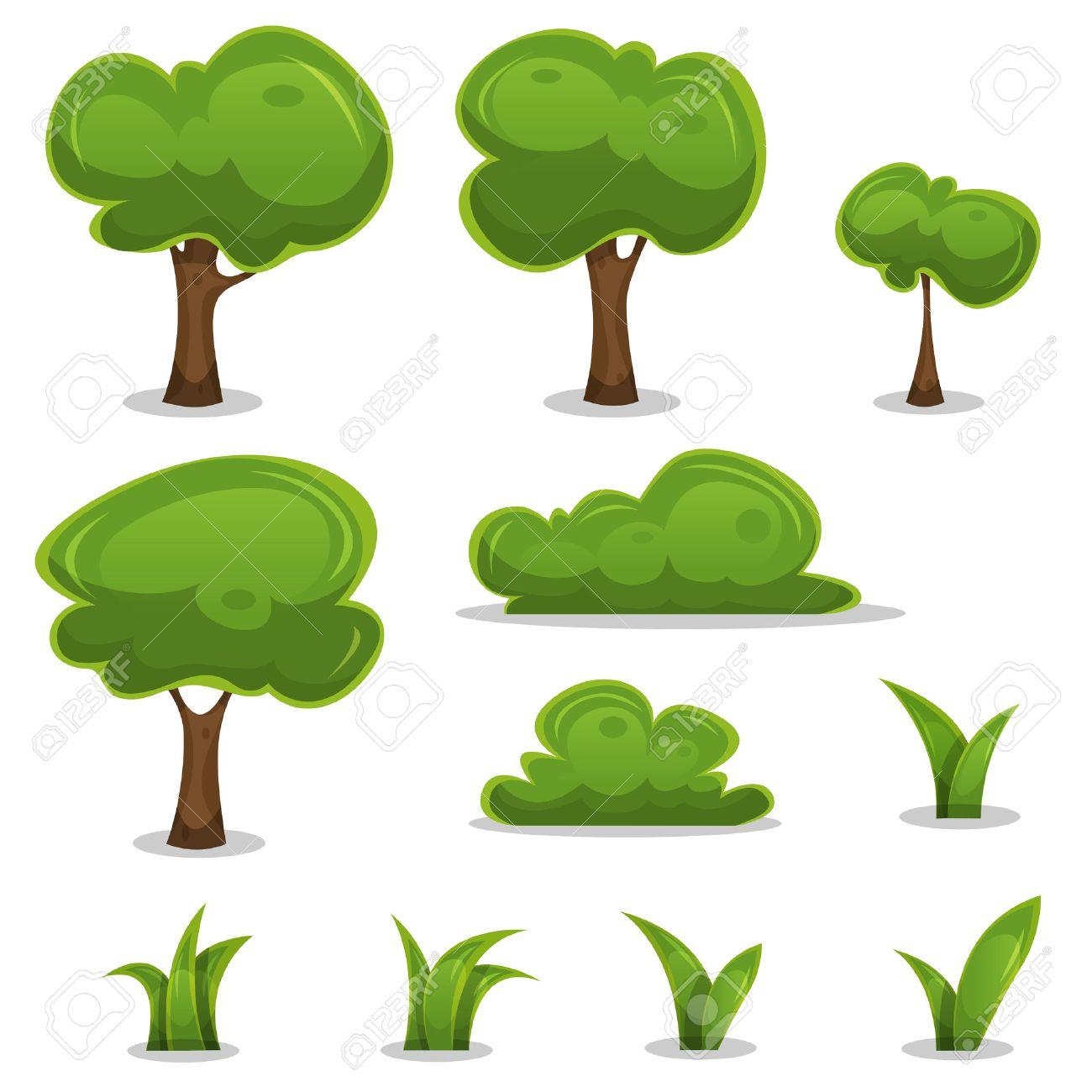 Illustration of a set of cartoon spring or summer little trees...