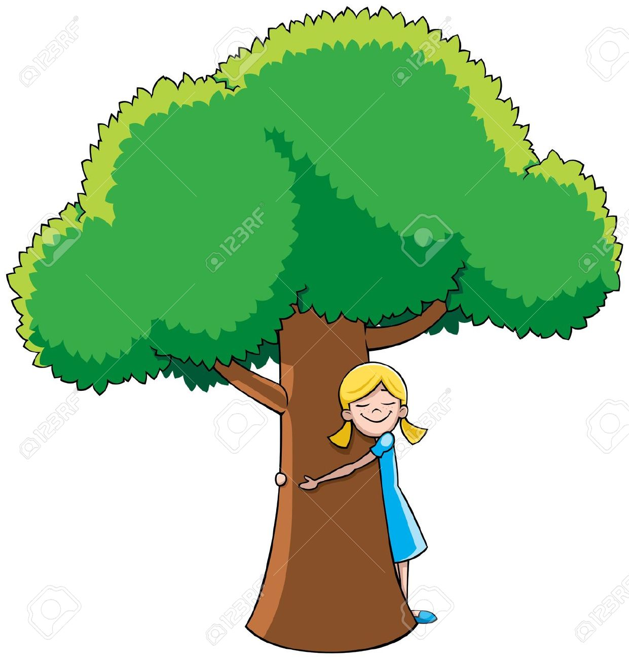Little Girl Hugging Tree. No Transparency And Gradients Used.