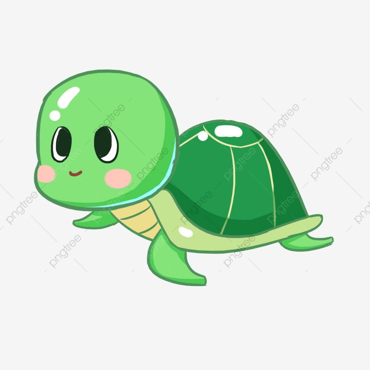 Cartoon Hand Painted Cute Little Turtle Marine Life, Green.