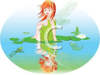 Little Water Faerie Looking at Her Reflection in a Pond.