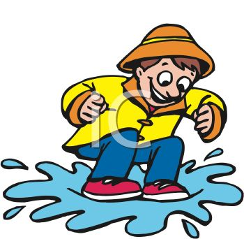 Cartoon of a Little Boy Jumping in a Puddle of Water.