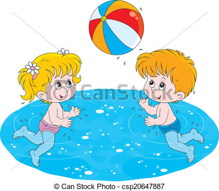 Vector of Children play a ball in water.