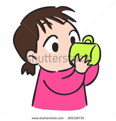 A girl drinking water clipart.