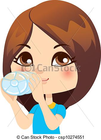 Girl Drinking Water Clipart.