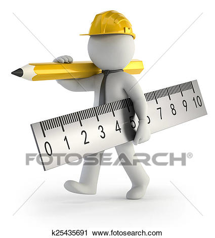 Little Man Builder, Isolated White Background.