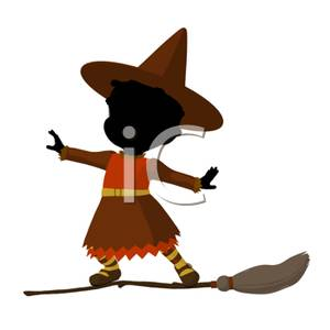 Little Witch Standing on a Flying Broom.