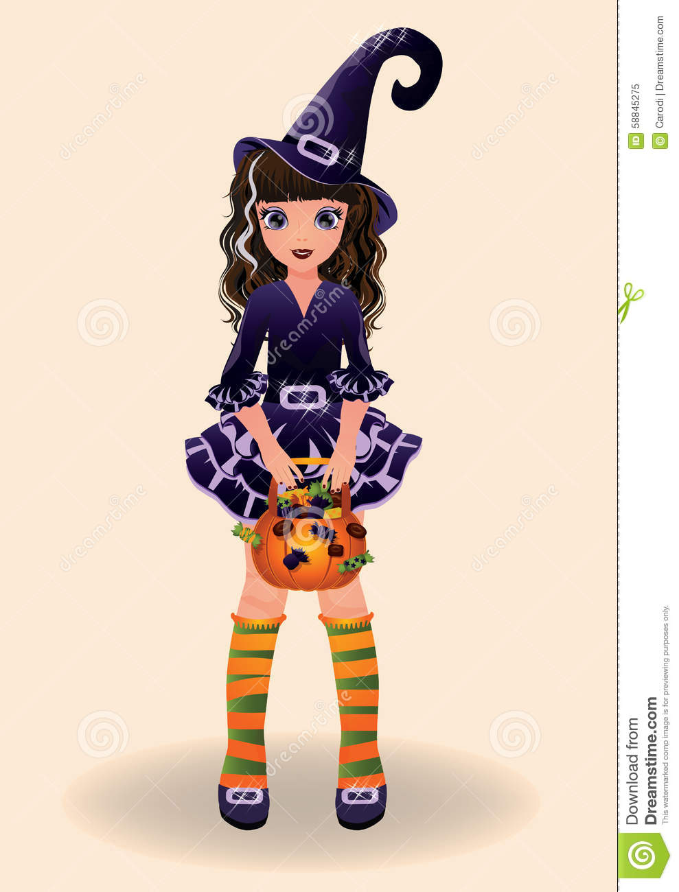 Halloween Little Witch And Candy Stock Vector.