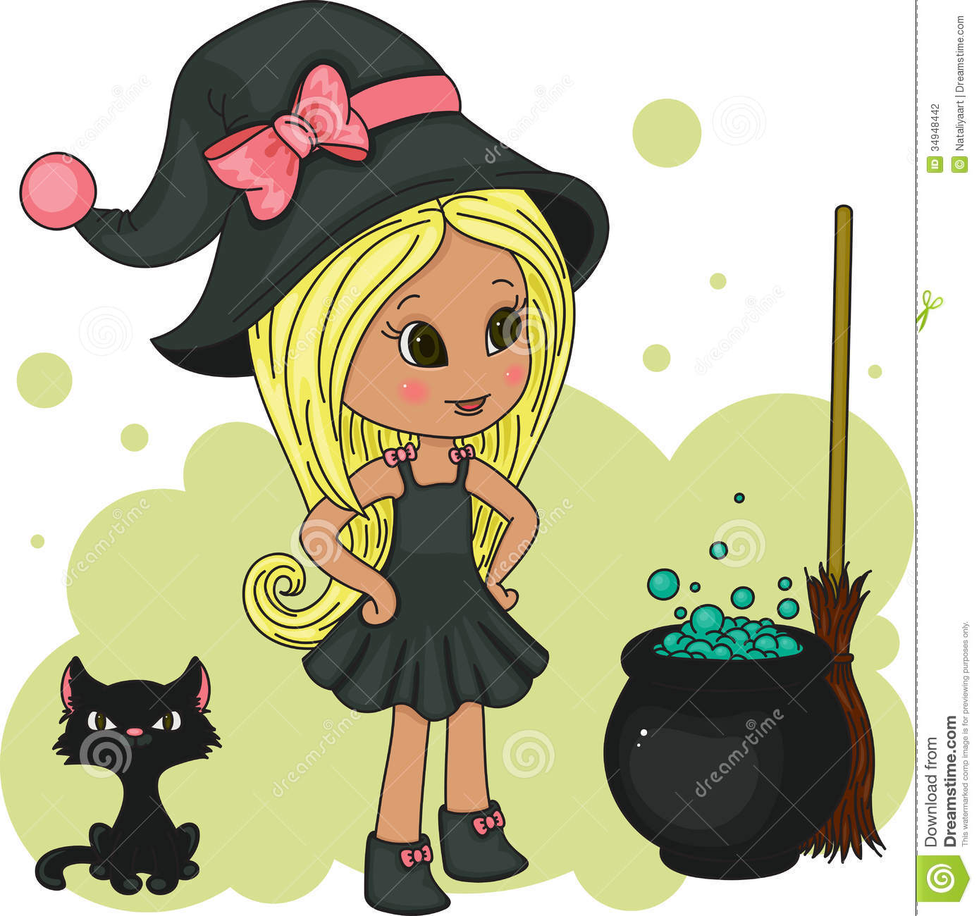 Cute Little Witch Stock Photography.