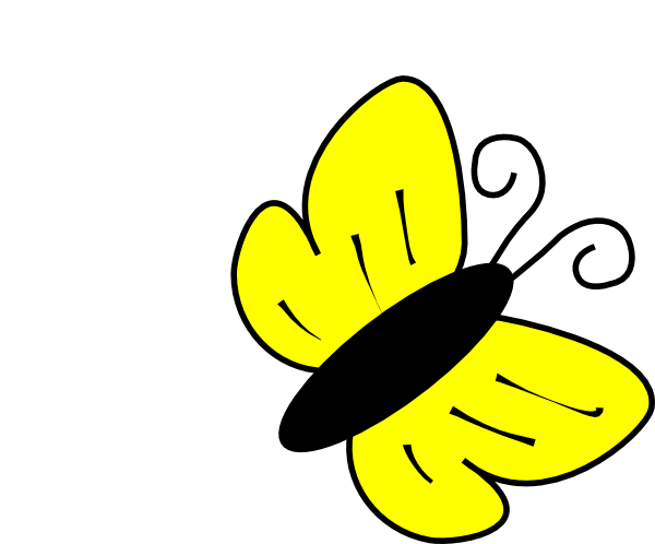Simple yellow butterfly clipart.