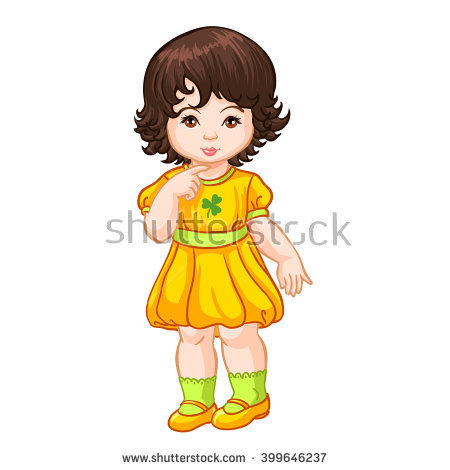Cute Little Girl Yellow Dress Blue Stock Photo 132482624.