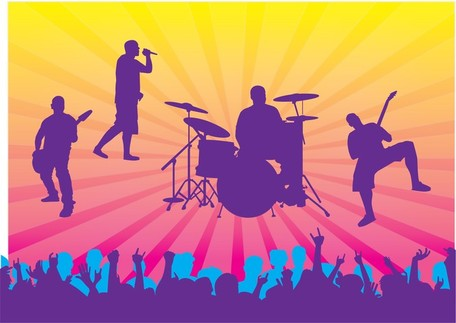 Live Band Clip Art, Vector Live Band.