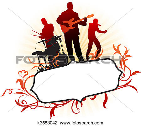 Clip Art of Live Music Band with American Flag k3529798.