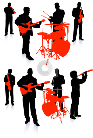 Live Band Silhouette Clipart.