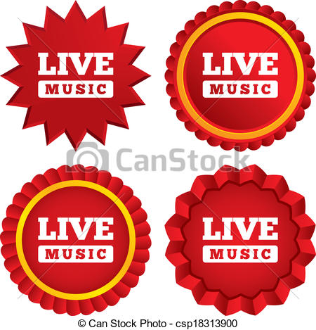 Vector Clipart of Live music sign icon. Karaoke symbol. Red stars.