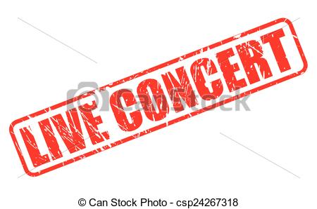 Vector Clip Art of Live concert red stamp text on white.