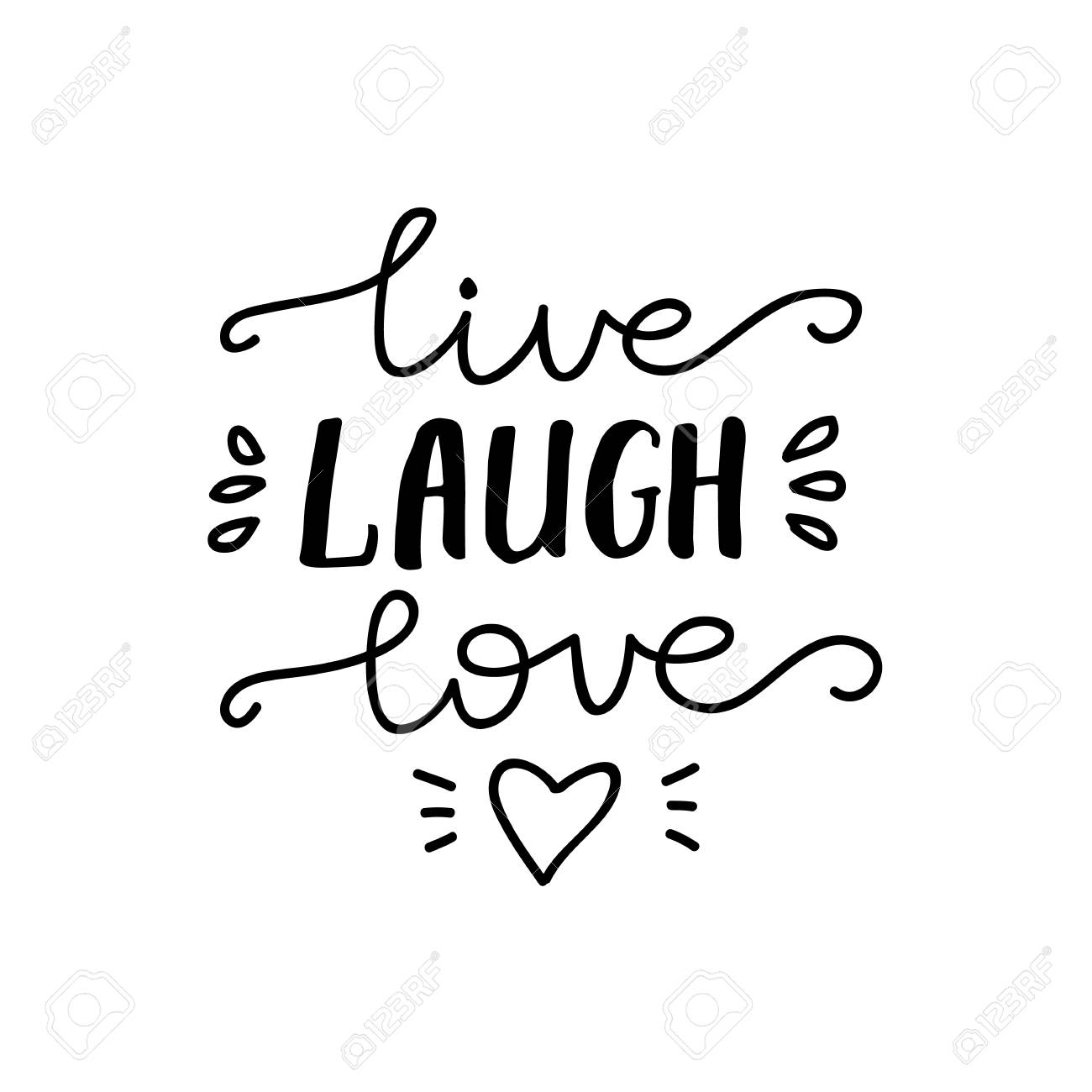 Lettering Live, Laugh, Love. Vector illustration..