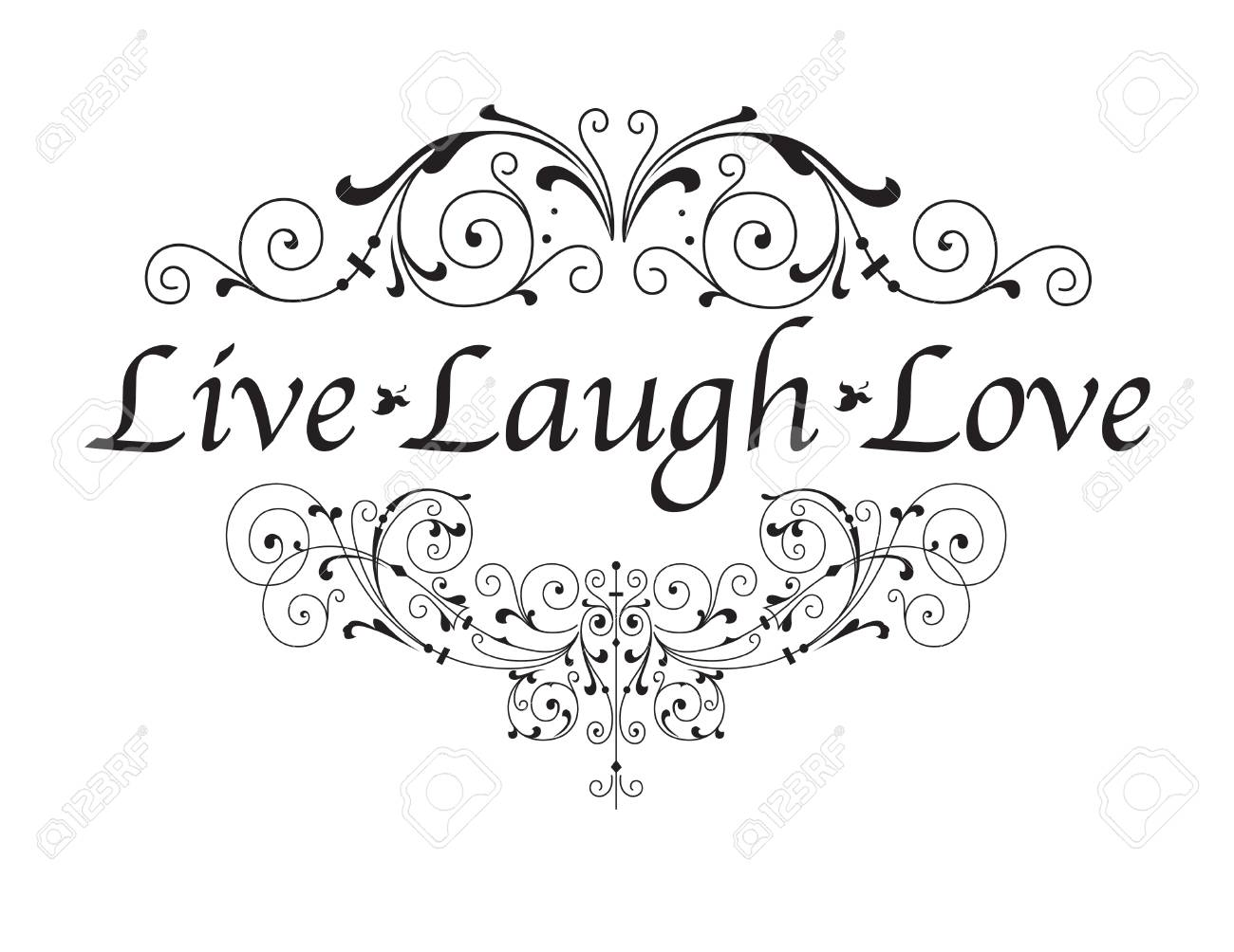 Live, Laugh, Love isolated on white background.