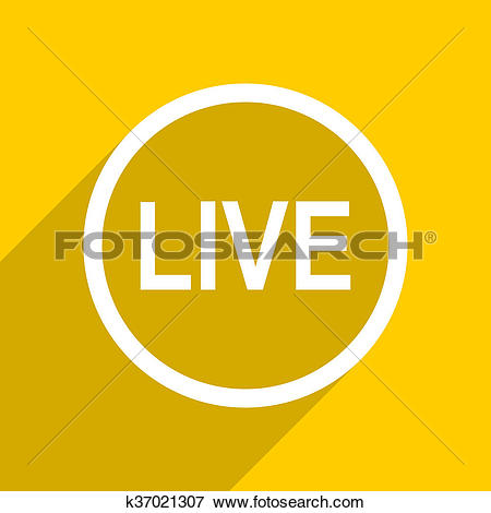 Picture of yellow flat design live modern web icon for mobile app.