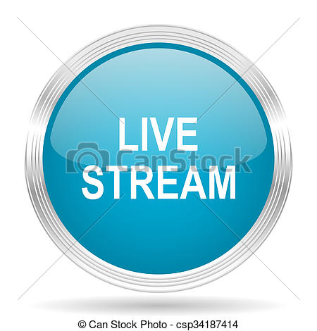 Clipart of live stream blue glossy metallic circle modern web icon.