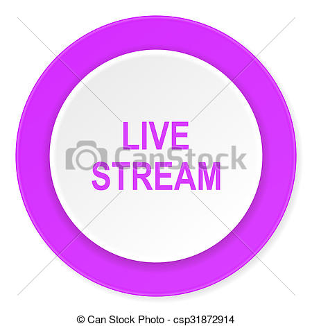Clipart of live stream violet pink circle 3d modern flat design.