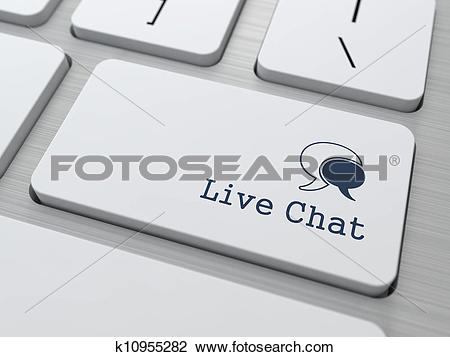 Clip Art of Live Chat Button on Modern Computer Keyboard.