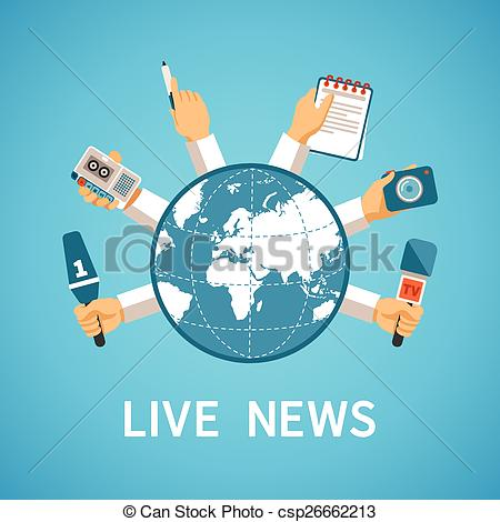 Vector Clip Art of Live news vector concept in modern flat style.
